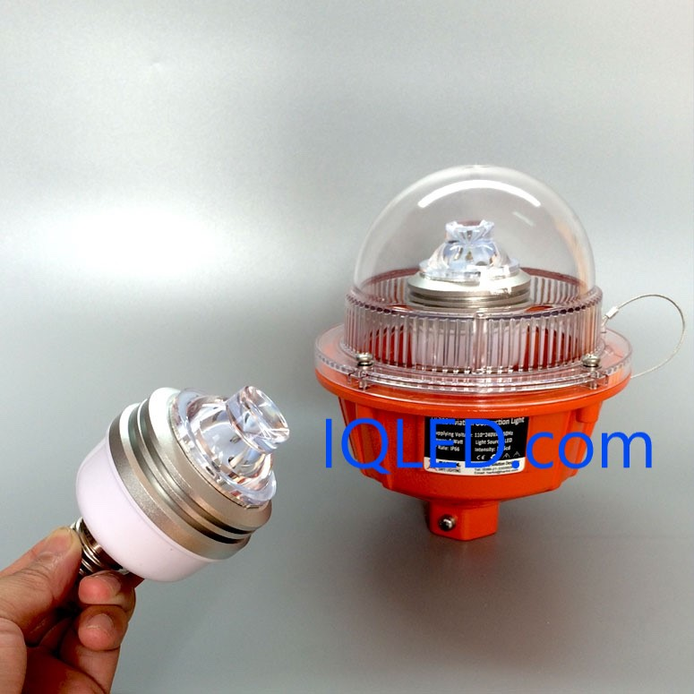 Obstruction E27 LED Lamp, E27 LED lamp for low intensity aviation obstruction light, obstruction light, Aviation light, aviation obstruction lights, solar obstruction light, tower obstruction lighting.