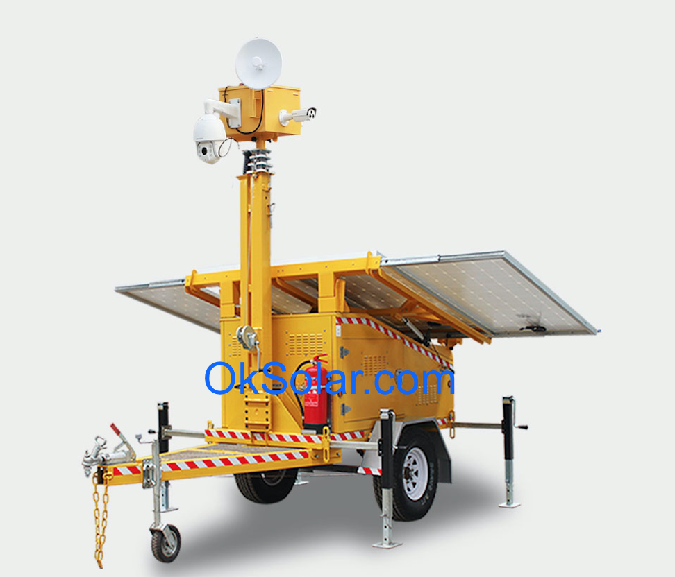 Solar CCTV Trailer Surveillance, Security Solar Light Tower, Refugee Camp Solar CCTV Trailer Night Vision, Mobile Surveillance Trailer Solar CCTV Night, Job Site Solar CCTV Trailer Surveillance, Solar CCTV Trailer Airport Security Night Vision
