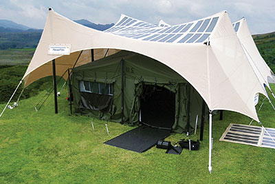 Solar Tents Charging Army Batteries