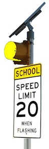 Solar School Zone Flasher 8 inches Yellow Beacon