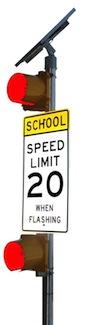 Solar School Zone Flasher 2-8 inches RED DOTZ4