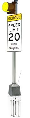 School Warning 120VAC - 8 Inches - Yellow