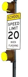 School Warning 120VAC - 2H12 Inches - Yellow