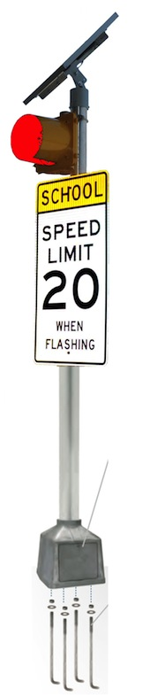 24/7 Flashing Beacon 12 inches RED