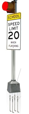 School Warning 120VAC - 12 Inches - Red