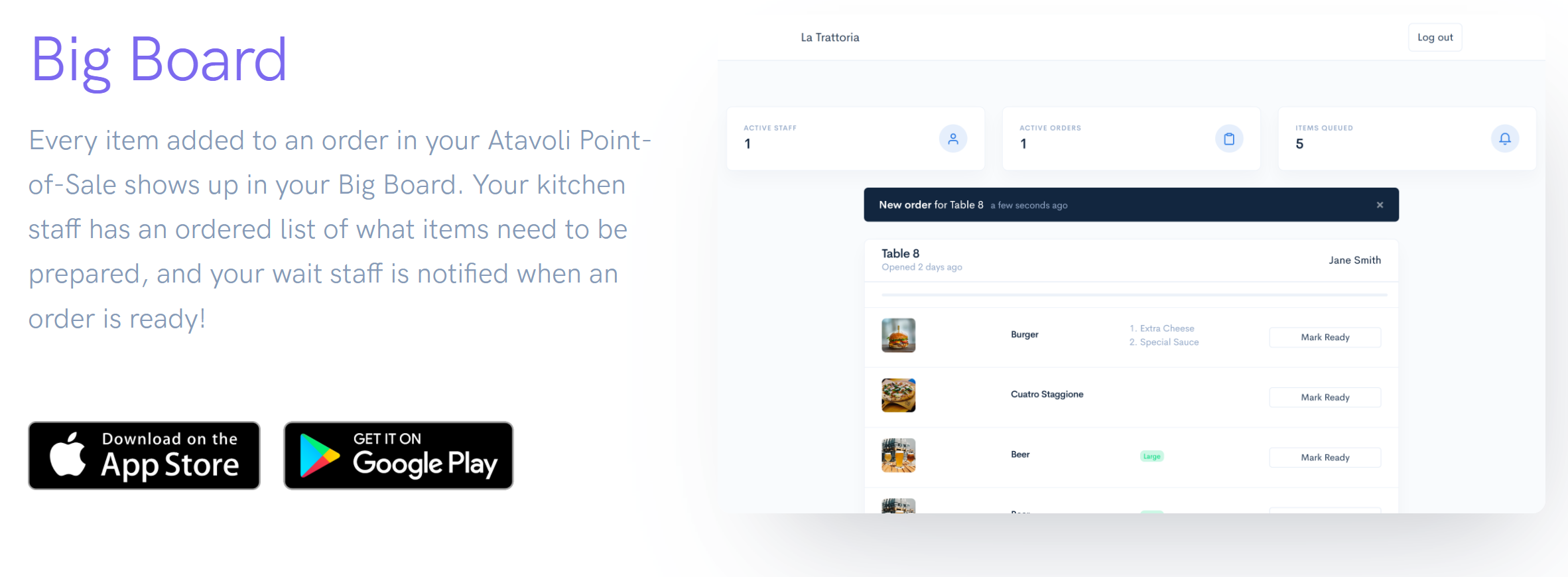 Atavoli - Restaurant Kitchen Unified TODO List for Your Kitchen Staff Point of Sale for Restaurants, Bars, Cafes, Bistros, Diners, Bakeries, Food Trucks, Hotels, Bed and Breakfasts, Resorts, Night Clubs