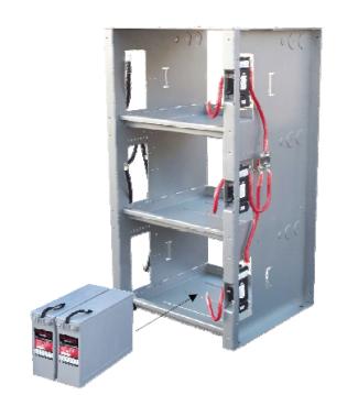 Shelf integrated battery rack for 48v systems