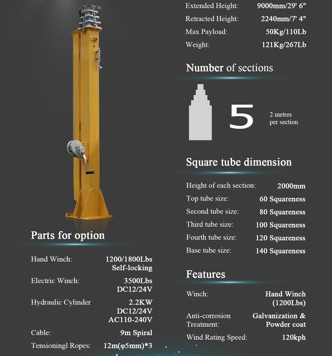 Telescopic Mast Pole, Solar Light Tower, Light Tower, Refugee Camps Solar Light Tower, mobile light towers, Job Site Solar Light Tower, Portable Solar Light Towers, Solar Powered Construction Light Tower.