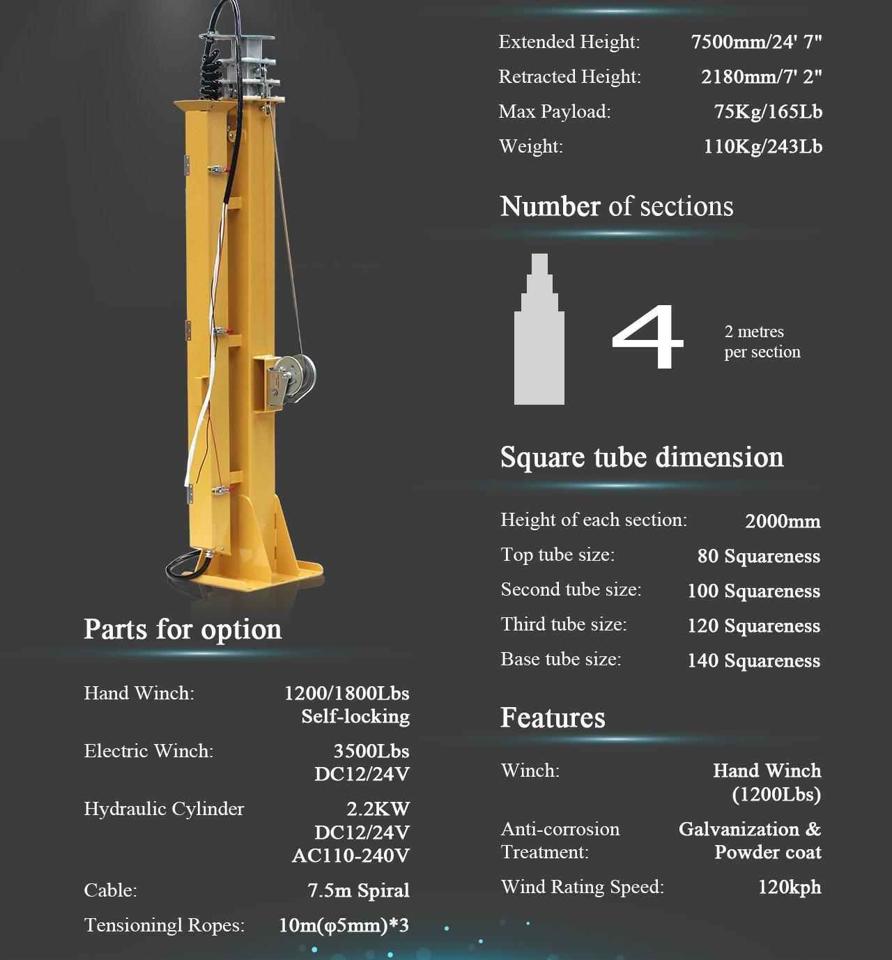 Light Tower Baseball Training: Telescopic Mast Pole