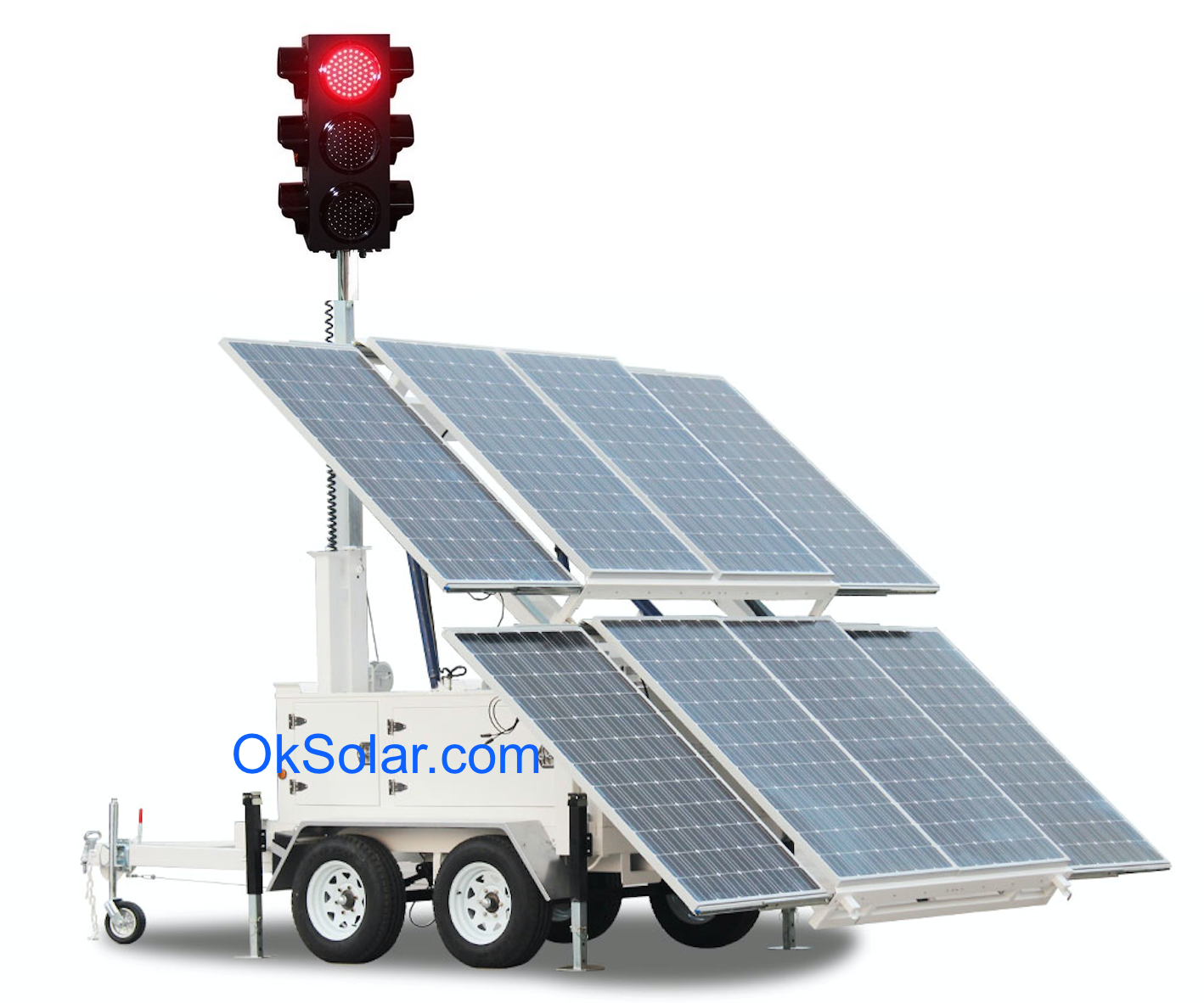 Solar Traffic Lights 4 Ways Traffic Signal Control, Solar Powered Traffic Warning Light, 4 Way Traffic Signal control, Remote Control Portable Traffic Signal Lights, temporary four ways solar traffic light.